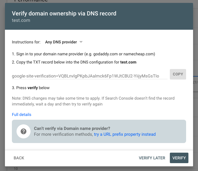 Google webmaster DNS verification