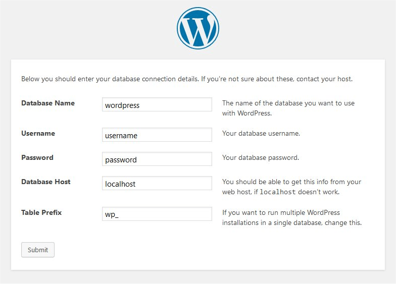 Setting up WordPress database on localhost
